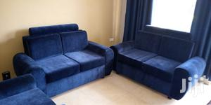 Sofa Set, 5seater, Blue, Nubuck/Suede Fabric