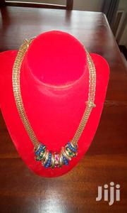 Gold Plated With Blue Pendant Ring Chunky Necklace | Jewelry for sale in Central Region, Kampala